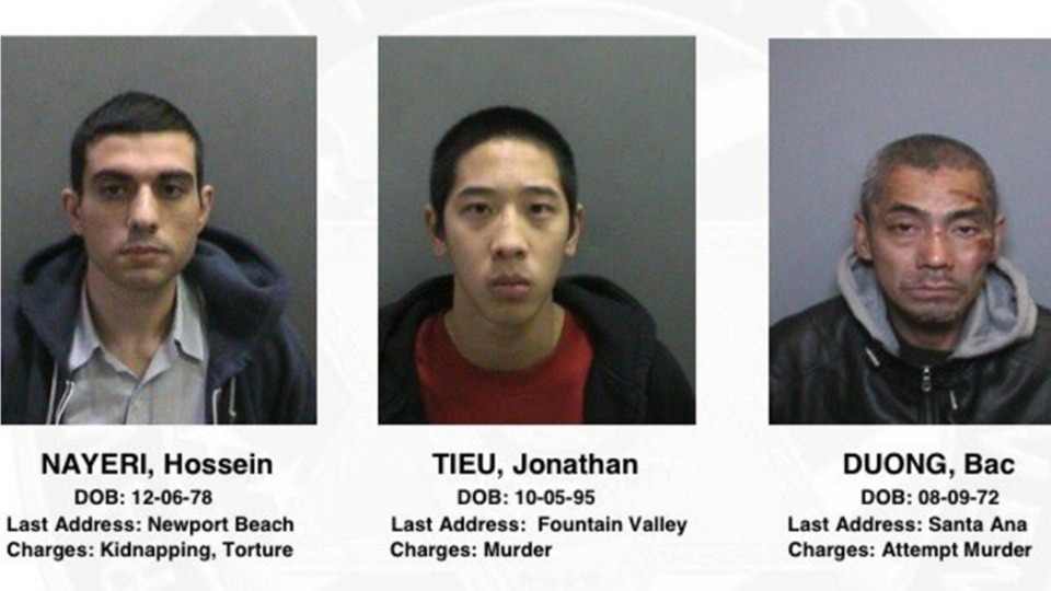 This image provided by the Orange County, Calif., Sheriff's Department on Saturday, Jan. 23, 2016, shows three jail inmates charged with violent crimes who escaped from the Central Men's Jail in Santa Ana, Calif. (Orange County Sheriff's Department via AP)