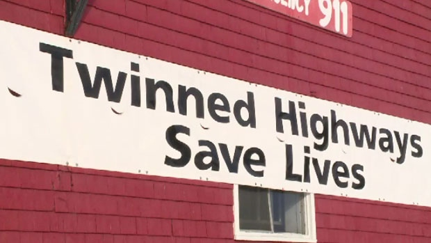 Joe MacDonald posted this sign calling for a twinned highway on the Barneys River Fire Hall.