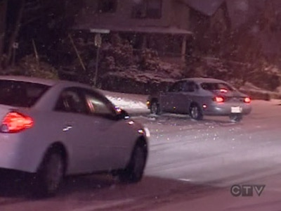 Icy conditions cause a driver to lose control in Vancouver, on Saturday, Dec. 20, 2008.