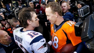 New England Patriots quarterback Tom Brady, left, and Denver Broncos quarterback Peyton Manning speak to one another following the NFL football AFC Championship game between the Denver Broncos and the New England Patriots, Sunday, Jan. 24, 2016, in Denver. (AP Photo / David Zalubowski)