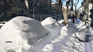 Automobiles buried under humps of snow line a street in the Park Slope neighborhood of the Brooklyn borough of New York, after a snowstorm on Sunday, Jan. 24, 2016. (AP / Beth Harpaz)