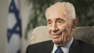 Former Israeli President Shimon Peres speaks during an interview with The Associated Press in Jerusalem on Nov. 2, 2015. (AP / Dan Balilty)