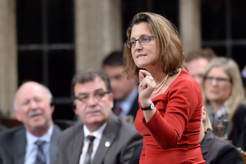 International Trade Minister Chrystia Freeland answers a question during Question Period in the House of Commons in Ottawa, on Monday, Dec. 7, 2015. (Sean Kilpatrick/THE CANADIAN PRESS)