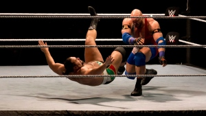 WWE wrestler Ryback, right, throws down Alexander Rusev during WWE Live India Tour, in New Delhi, on Jan. 15, 2016. (Manish Swarup / AP)