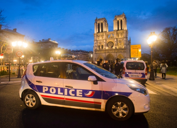 French police in front of Notre Dame
