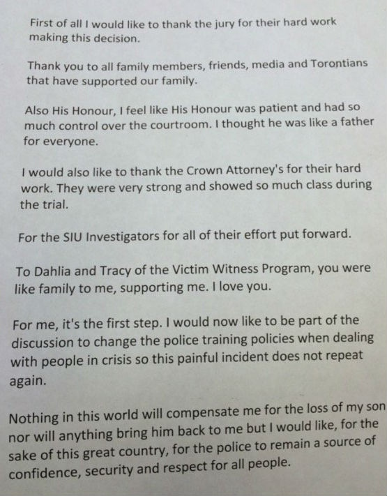 The full statement from Sammy Yatim's mother is shown.