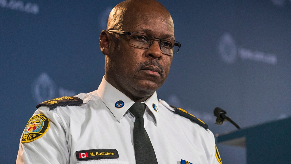 Toronto Police Chief Mark Saunders speaks during a press conference in response to verdict in Forcillo trial in Toronto on Monday, Jan. 25, 2016. (Aaron Vincent Elkaim / THE CANADIAN PRESS)