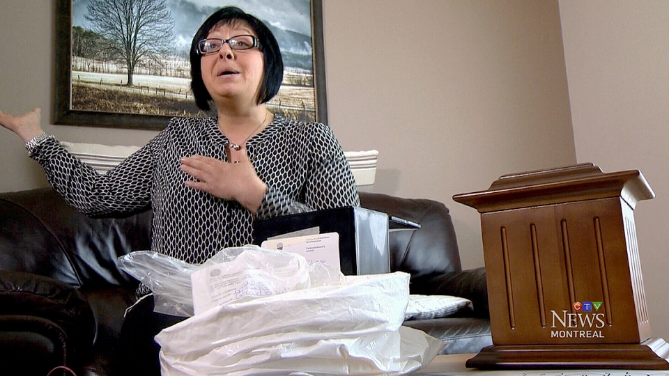 Kathleen Sharpe said she found the name Gerald Breault inside the plastic bag of what the funeral home insists are what's left of her father Robert Sharpe, who died on Jan. 15., 2016.