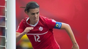 Canada's Christine Sinclair celebrates her goal against England during first half of FIFA World Cup quarter-final soccer action in Vancouver, B.C., on June, 27, 2015. (Jonathan Hayward/THE CANADIAN PRESS)