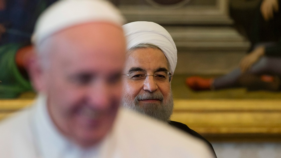 Pope Francis and Iranian President Hassan Rouhani at the Vatican, on Jan. 26, 2016. (Andrew Medichini / AP)