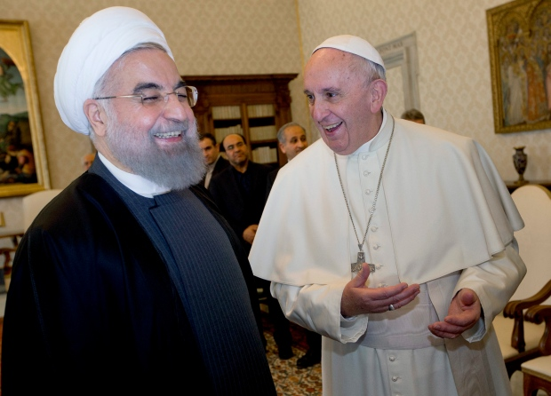Iranian President Hassan Rouhani and Pope Francis