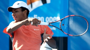 Canadian junior tennis player Felix Auger Aliassime at the Australian Open in Melbourne, on Jan. 24, 2016.  (Vincent Thian / AP)