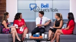 Prime Minister Justin Trudeau speaks with the hosts of The Social on Bell Let's Talk Day.