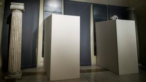 Wooden panels cover statues inside Rome's Capitoline Museums, on Jan. 25, 2016. (Giuseppe Lami / ANSA via AP)