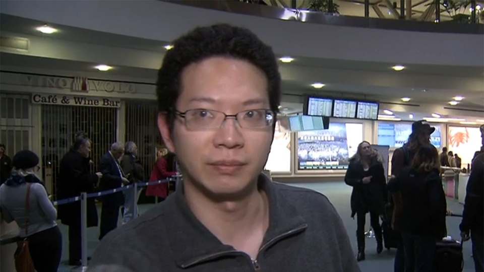 Passenger Brian Chang speaks with CTV Vancouver about his experience on a plane that became stuck in mud.
