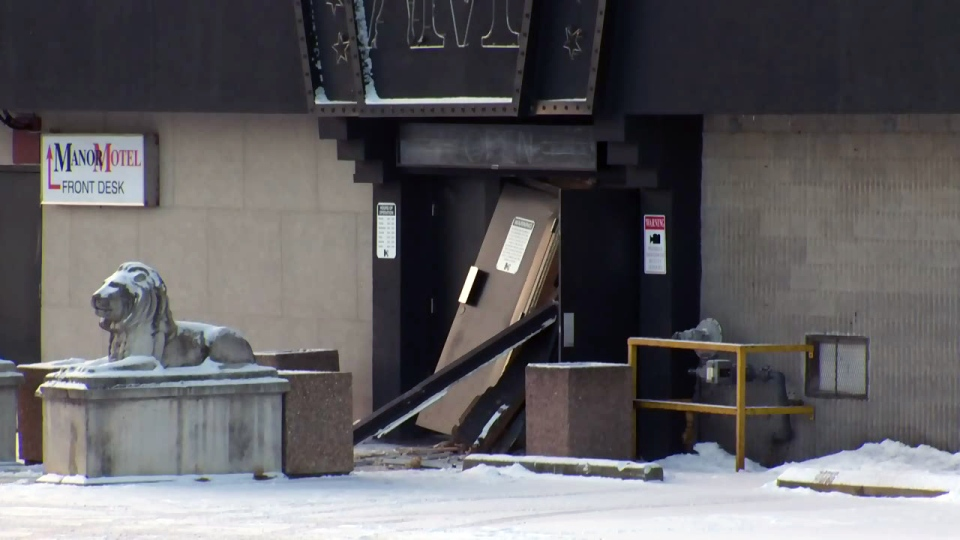 Damage to The Manor in Guelph following a break-in and ATM theft is pictured on Wednesday, Jan. 27, 2016.