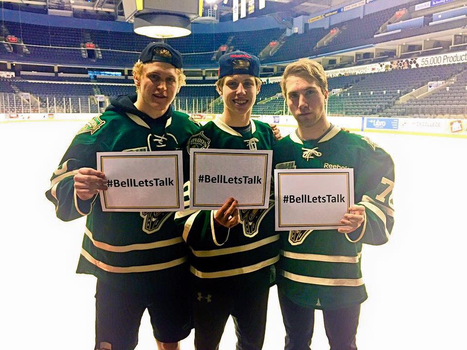 The London Knights Tweeted this photo in support of the Bell Let's Talk campaign on Wednesday, Jan. 27, 2016.
