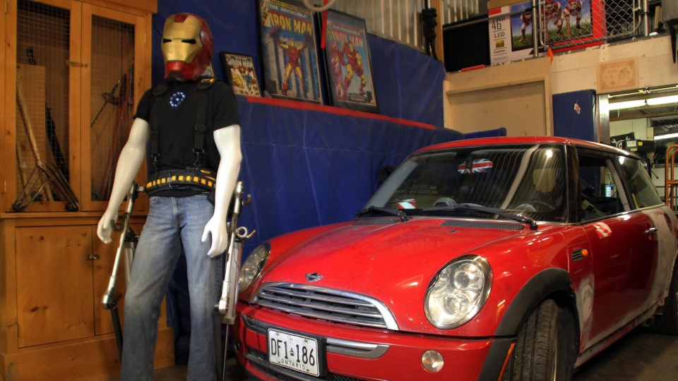 Kitchener, Ont., inventor James Hobson's homemade exoskeleton legs, which he used to lift a Mini Cooper, are displayed on a mannequin in his garage in a handout photo. Hobson says he was inspired to work on the exoskeleton by the Marvel superhero Iron Man.THE CANADIAN PRESS/HO-James Hobson