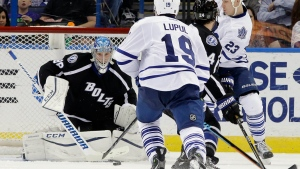 Tampa Bay Lightning goalie Andrei Vasilevskiy (88), of Russia, makes a save on a shot by Toronto Maple Leafs center Shawn Matthias (23) during the second period of an NHL hockey game, Wednesday, Jan. 27, 2016, in Tampa, Fla. (AP / Chris O'Meara)