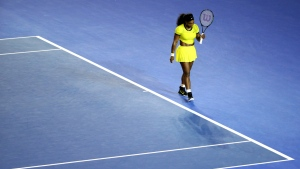 Serena Williams walks to receive a serve from Agnieszka Radwanska during their semifinal match at the Australian Open tennis championships in Melbourne, Australia on Thursday, Jan. 28, 2016. (AP / Rick Rycroft)