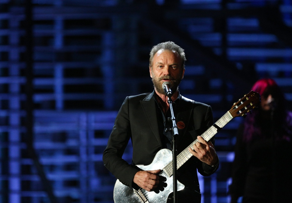 In this Nov. 18, 2015 file photo, Sting performs at the Shrine Auditorium in Los Angeles. (AP / Invision /Rich Fury)