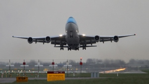 Three KLM Royal Dutch Airlines flights have landed in Calgary with active COVID-19 cases on board since Nov. 26, the Government of Canada says. (AP Photo/Peter Dejong)