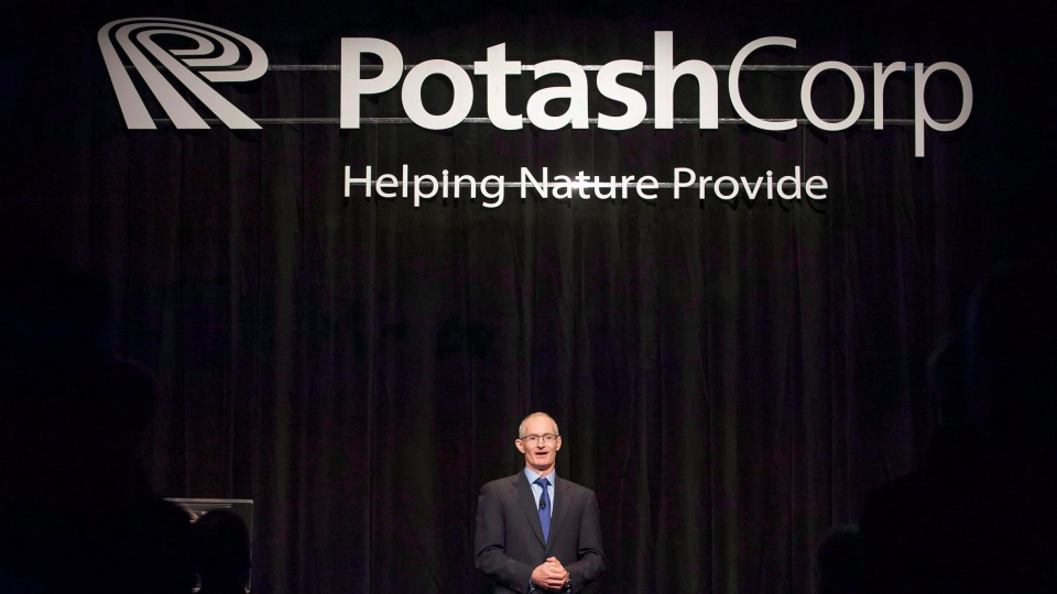 Jochen Tilk, president and CEO of PotashCorp, speaks to shareholders during the company's annual general meeting in Saskatoon, Sask., on May 15, 2014. (THE CANADIAN PRESS/Liam Richards)