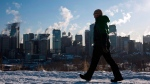 A man walks past the Calgary, Alta., skyline as steam rises from downtown office towers on Jan. 31, 2011. (THE CANADIAN PRESS/Jeff McIntosh)