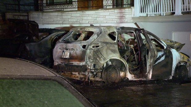 The firebomb destroyed two cars