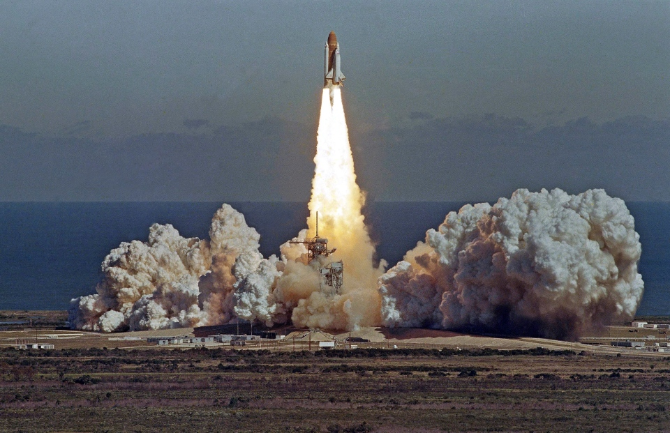 The space shuttle Challenger lifts off from the Kennedy Space Center in Cape Canaveral, Fla. shortly before it exploded with a crew of seven aboard on Jan. 28, 1986. (AP / Thom Baur)