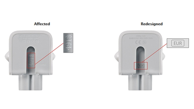 Apple's affected wall adapter and its replacement