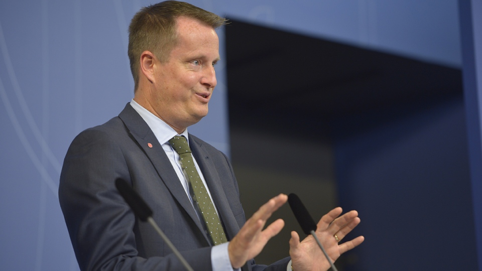 Sweden's Interior Minister Anders Ygeman, announcing that the government will impose temporary border controls as the Nordic country struggles to receive tens of thousands of refugees in Stockholm, Sweden, Nov. 11, 2015. (Henrik Montgomery / TT via AP)