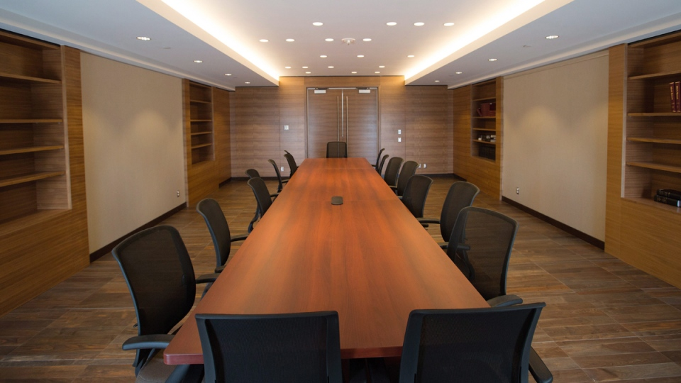 A meeting room inside the former Premier Alison Redford's so-called sky palace, on January 26, 2016. (Amber Bracken / THE CANADIAN PRESS)