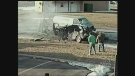 An image taken from video shows the aftermath of a four-vehicle crash in Windsor, Ont.
