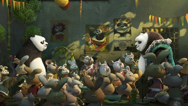 The characters Po, voiced by Jack Black, left, and his long-lost panda father Li, voiced by Bryan Cranston, are seen in a scene from 'Kung Fu Panda 3.'