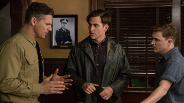 Chris Pine and Kyle Gallner appear in a scene from, 'The Finest Hours.' (Claire Folger / Disney)