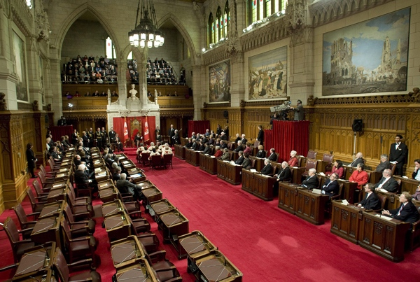 The government side of the Senate is partially empty as Gov. Gen Michaelle Jean reads the speech from the throne in the Senate chamber on Parliament Hill in Ottawa, Wednesday, Nov. 19, 2008. Harper appointed new senators Monday and filled 18 seats. (Adrian Wyld / THE CANADIAN PRESS)