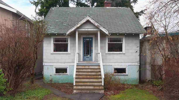A run-down residence on a 33-foot lot in Vancouver's toney Point Grey neighbourhood has just been listed for $2.398-million, and realtors expect it will fetch much more. Interior photos of the home show broken window frames, peeling paint, scuffed floors, and a tub surround hanging off its hinges. (Kavanagh Group)