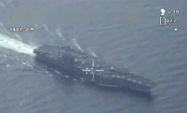 Iran drone footage of aircraft carrier