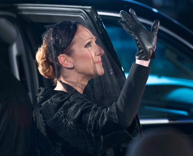 Celine Dion waves after Angelil's funeral