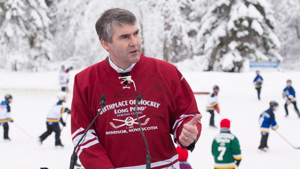 Premier Stephen McNeil announces support of up to $3 million for the Windsor Hockey Heritage Centre, in Windsor, N.S. on Saturday, Jan. 30, 2016. (THE CANADIAN PRESS / Andrew Vaughan)