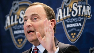 NHL commissioner Gary Bettman speaks at a news conference before the NHL All-Star hockey game skills competition in Nashville, Tenn. on Saturday, Jan. 30, 2016. (AP / Mark Humphrey)