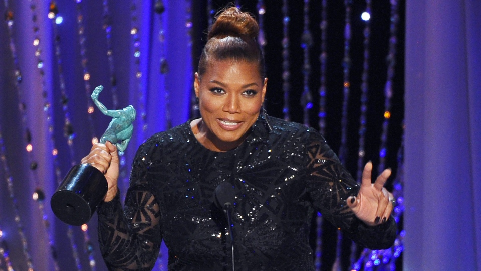 "Queen Latifah accepts the award for outstanding female actor in a TV movie or miniseries for ""Bessie"" at the 22nd annual Screen Actors Guild Awards at the Shrine Auditorium & Expo Hall on Saturday, Jan. 30, 2016, in Los Angeles. (Photo by Vince Bucci / Invision / AP)"