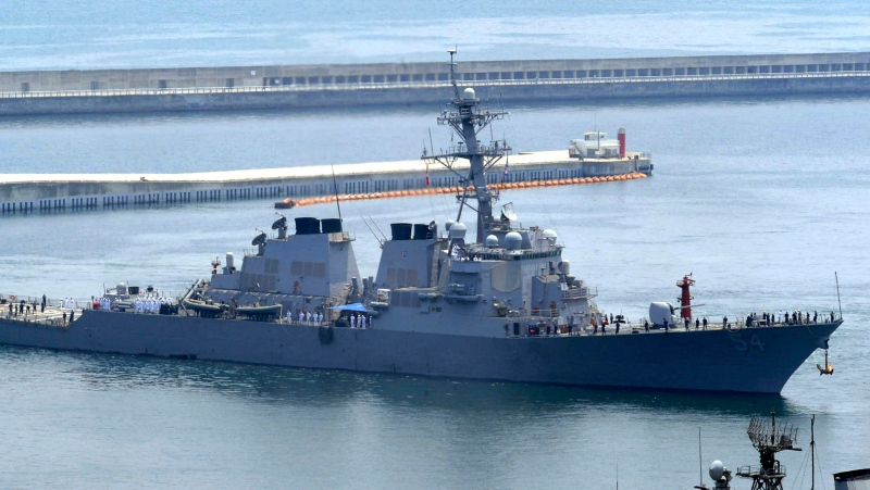 In this June 4, 2010, file photo, the USS Curtis Wilbur arrives at a naval base in Busan, South Korea, for South Korea-U.S. joint drills. (Jo Jong-ho/Yonhap via AP)