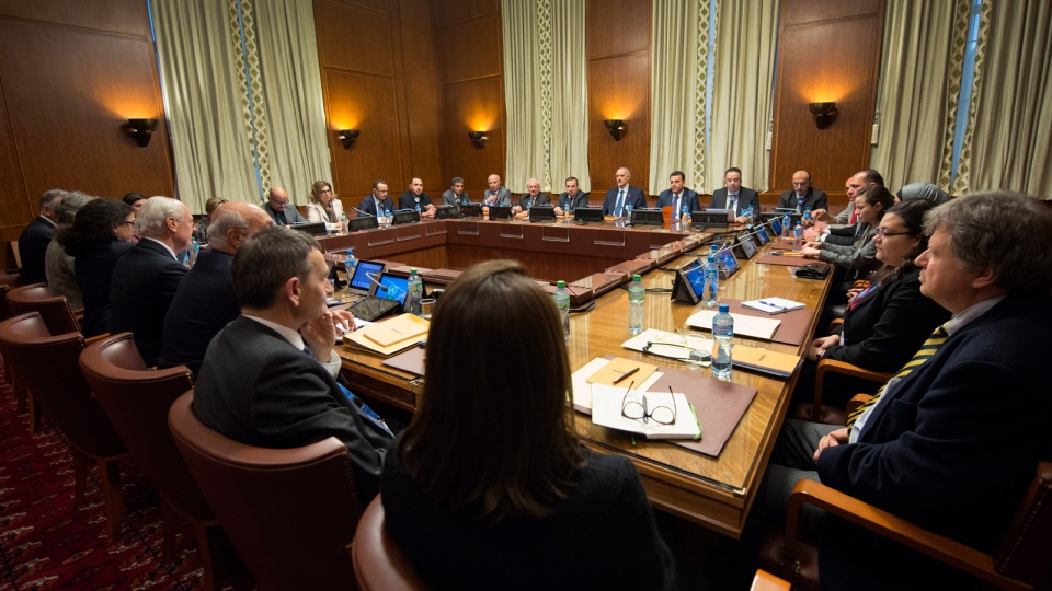 Overview of the Syria peace talks in Geneva, Switzerland, Friday, Jan. 29, 2016. Indirect peace talks aimed at resolving Syria's five-year conflict began Friday at the UN, headquarters in Geneva, without the participation of the main opposition group. (Martial Trezzini / Keystone via AP)