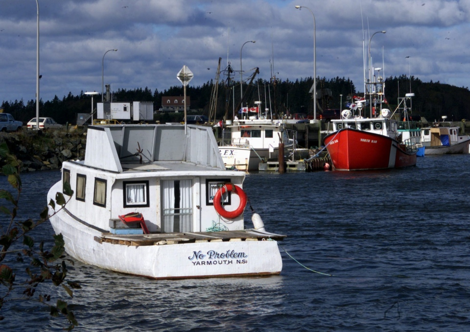 Fishing boats and Canadian Coast Guard ships float in the harbour of Yarmouth N.S. on Oct. 7, 1999. (Jacques Boissinot / The Canadian Press)