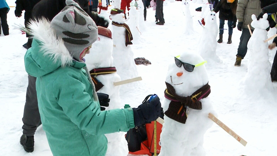 A massive crowd gathered at the TD Place Stadium to roll, stack and assemble as many snowmen as they could within an hour.