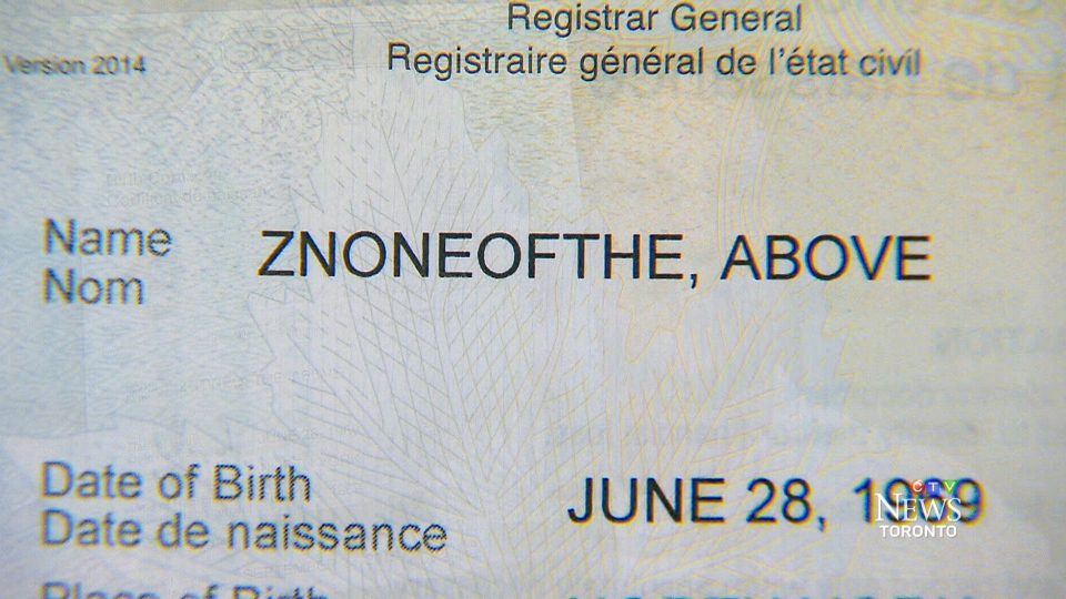 A registration card showing a Whitby-Oshawa provincial byelection candidate's name change.