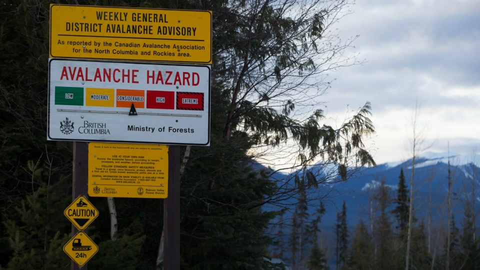 A sign showing an avalanche hazard warning of 'considerable' is seen at a parking lot where snowmobilers embark from near Mount Renshaw outside of McBride, B.C., on Saturday January 30, 2016. (Darryl Dyck / THE CANADIAN PRESS)