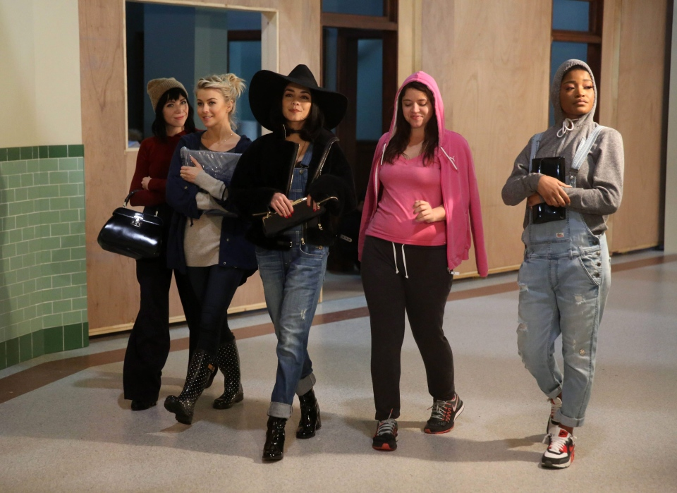 Carly Rae Jepsen, Julianne Hough, Vanessa Hudgens, Kether Donohue and Keke Palmer during a rehearsal for, 'Grease:Live.'